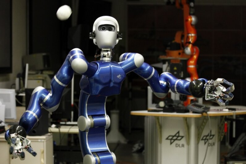 Hey, robots can play catch. Robot Justin, a humanoid two-arm system, developed by the German air and space agency, Deutsches Zentrum fur Luft- und Raumfahrt, can perform given tasks autonomously such as catching balls or serving coffee. See more robot pictures. © Michael Dalder/Reuters/Corbis