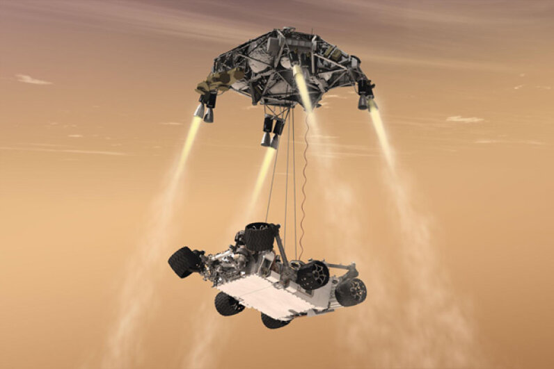 NASA's Curiosity rover mission captured imaginations with a so-crazy-it-just-might-work landing plan. Courtesy NASA