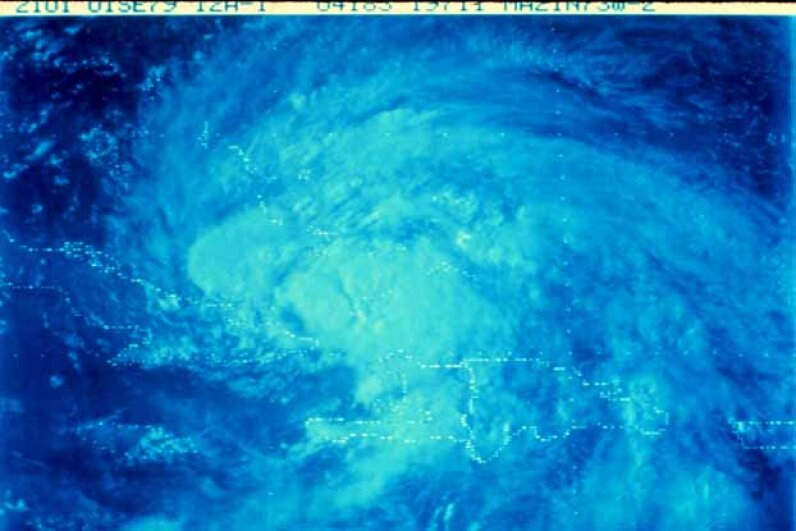 Satellite view of a tropical storm in the Caribbean area. NOAA