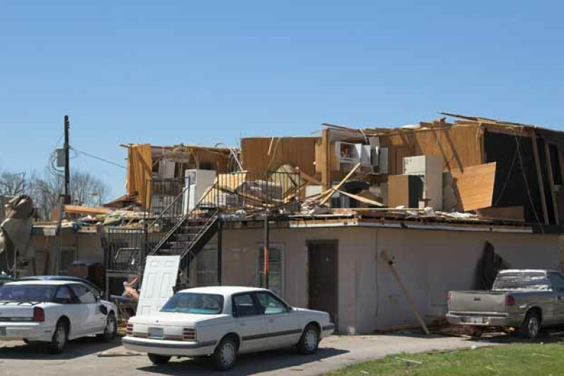 This house was left roofless (and missing some walls) after a tornado touched down in Kentucky. Hemera/Thinkstock