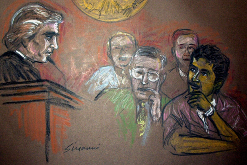 In this artist's rendering, Mukthar al-Bakri (R) and defense attorney John Malloy (C) appear before Judge William Skretny (L) during sentencing in U.S. District Court, Dec. 3, 2003 in Buffalo, N.Y. Ralph Sirianni via Getty Images