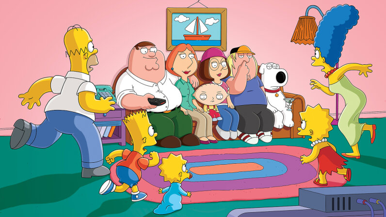 """A crossover episode of """"The Simpsons"""" and """"Family Guy"""" called """"The Simpsons Guy"""" aired on Sept. 28, 2014. FOX via Getty Images"""