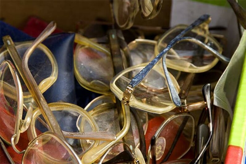 Used eyeglasses can be recycled and given to people in developing countries who don't have any. Universal Images Group/Getty Images