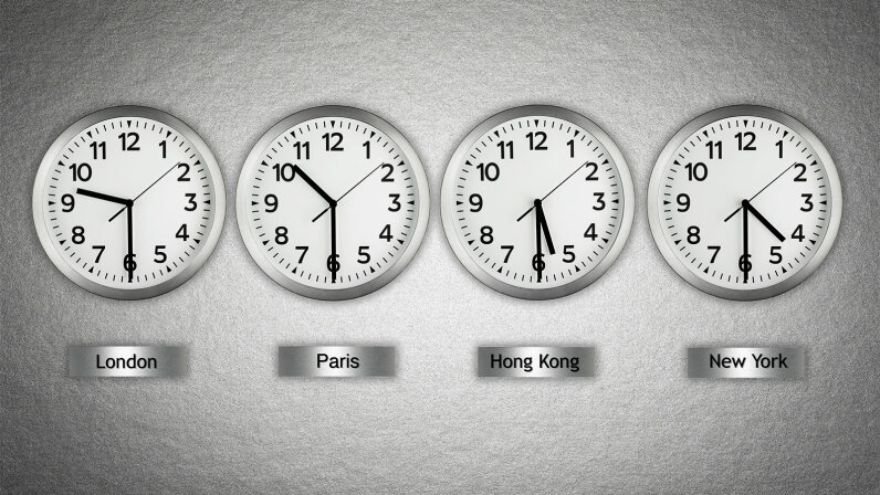 clocks at different time zones