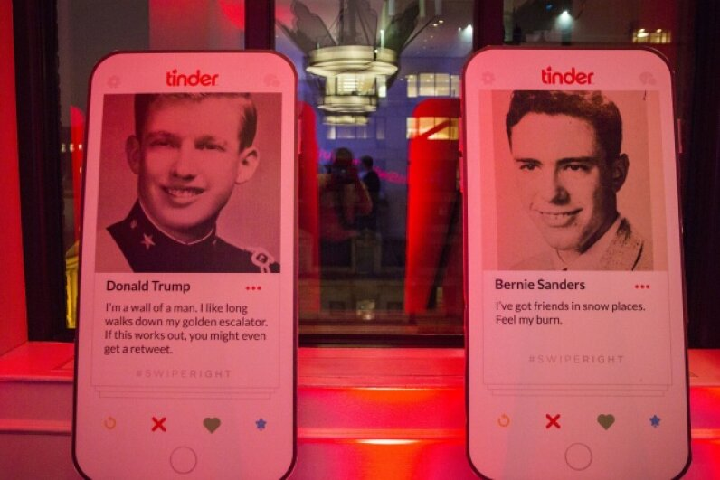 Fake Tinder profiles for Donald Trump and Sen. Bernie Sanders on display at a party hosted by Tinder and Independent Journal Review. Al Drago/CQ Roll Call/Getty