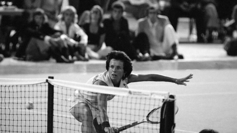 In 1973, tennis star Billie Jean King triumped over Bobby Riggs, (not pictured), in his 'Battle of the Sexes' challenge at the Houston Astrodome. Bettmann/Contributor/Getty Images