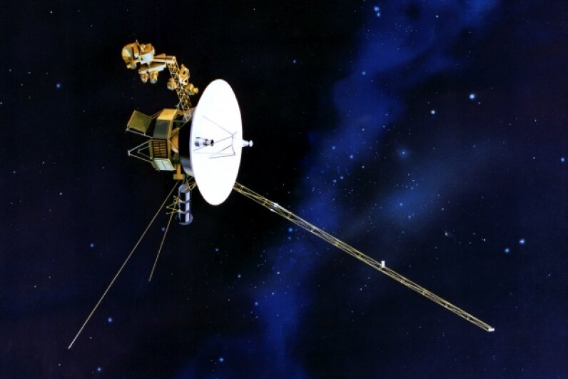 Artist's concept of the wondrous and wide-ranging Voyager spacecraft in flight Image courtesy NASA/JPL