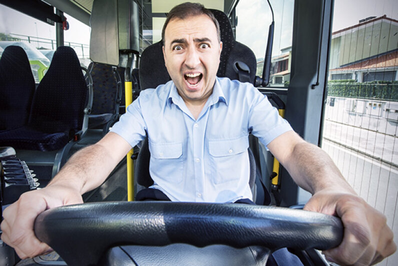 This bus driver's reaction is appropriate: Trying to outrun a tornado in your vehicle is totally unsafe. kissenbo/iStock/Thinkstock