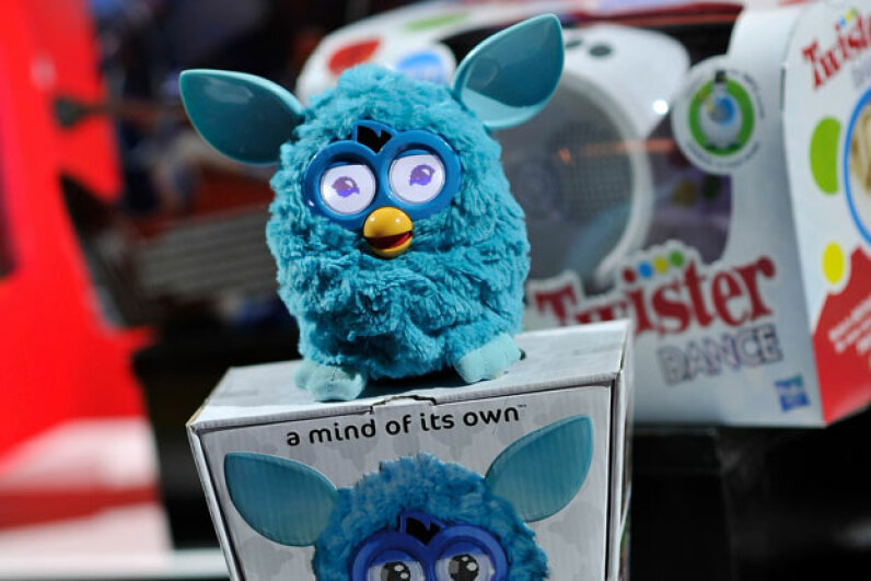 The new Furby line features LCD eyes and can interact with an optional iPhone app that translates Furbish into English. ©Gareth Cattermole/Getty Images