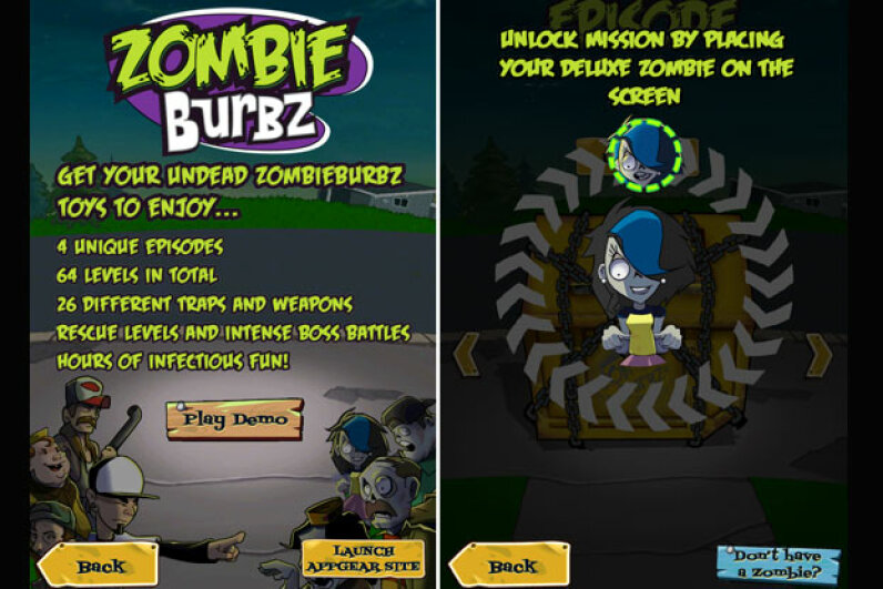 You can play a free sample of the ZombieBurbz app, but for the full game, you'll need a zombie figure to move across your smartphone or tablet's screen. Screen capture by HowStuffWorks staff