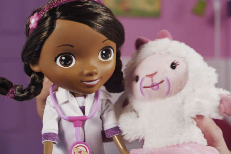 The commercial for Doc McStuffins features the young caregiver treating her friend Lambie with the perfect amount of stuffing.   Screencapture by HowStuffWorks staff