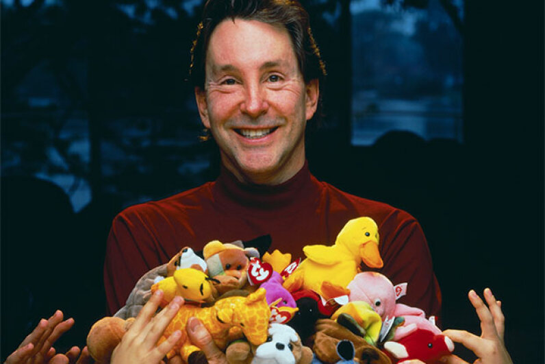 Ty Warner, the founder of Ty Inc., the company that created Beanie Babies, poses with some of his collection. © Kevin Horan/Corbis