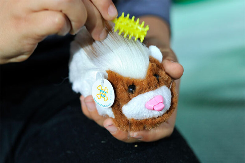 A Zhu Zhu pet gets a little grooming during an annual toy fair in 2010 in London. Gareth Cattermole/Getty Images