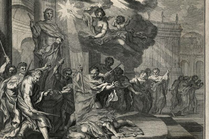 Allegorical engraving of the assassination of Julius Caesar by a group of nobles including Brutus and Cassius, on the Ides (15th) of March, 44 B.C.E. © Bettmann/CORBIS