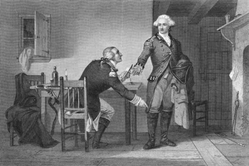 Benedict Arnold persuades his British collaborator General John Andre to hide the West Point plans in his boot. Andre was caught and hanged. Arnold fled to fight for Britain. © Bettmann/CORBIS