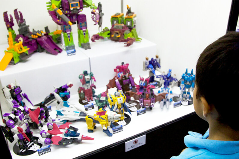 Classic Transformers toys have become museum display pieces, like these at the 2014 Transformers Expo in Japan. © Rodrigo Reyes Marin/AFLO/Nippon News/Corbis