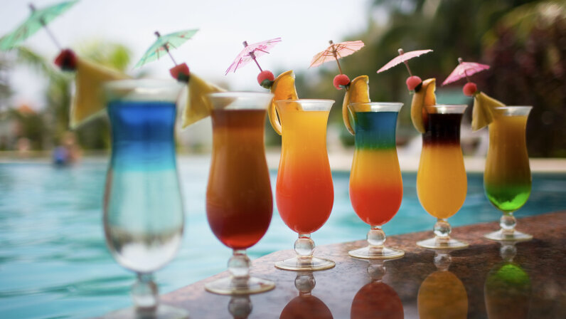 cocktail drinks in a row