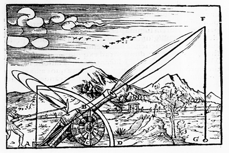 A print from 1561 of a gunner firing a cannon. The path of the projectile is shown according to Aristotelian physics. Ann Ronan Pictures/Print Collector/Getty Images