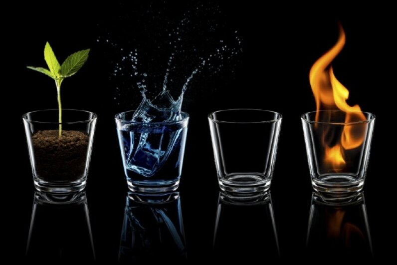 The four elements: earth, water, air and fire Thomas Vogel/E+/Getty Images