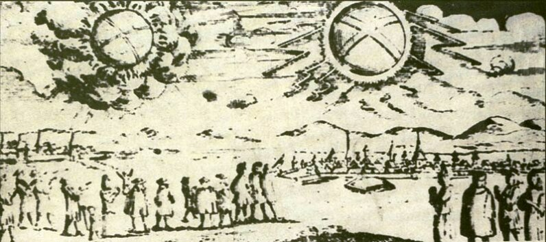 On November 4, 1697, two glowing wheels sailed over Hamburg, Germany, according to one account. Early reports such as these are difficult to evaluate and may or may not be related to the modern UFO phenomenon. Intercontinental U.F.O. Galactic Spacecraft Research and Analytic Network Archives
