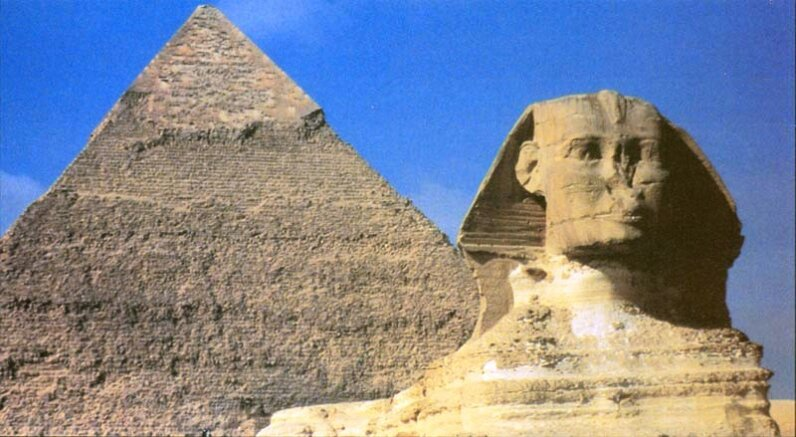 Ancient-astronaut lore believes that the Great Pyramids and the Sphinx are creations of superior extraterrestrial technology. Such theories have no real basis in fact. Fortean Picture Library