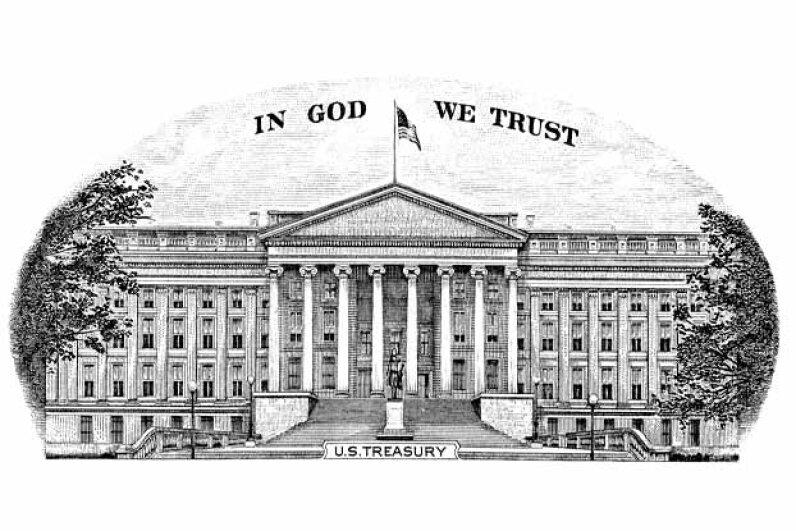 The U.S. Treasury building graces the back of the ten-dollar bill. Yury Minaev/iStock/Thinkstock