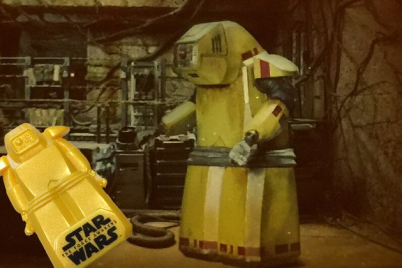 "Leading up to the opening of ""The Force Awakens,"" General Mills cereals had a promotion featuring a plastic B-U4D (among other droids) that contained an image of the hard-working mechanic. This is far more attention than he got on screen. Image by HowStuffWorks"