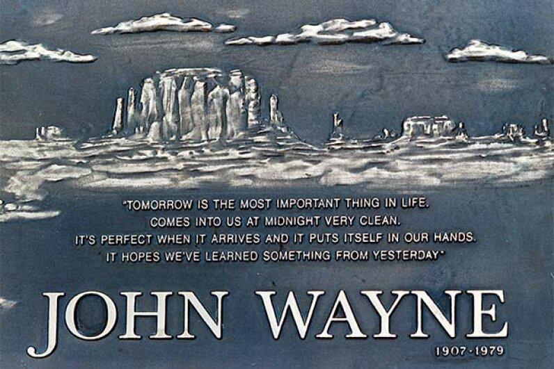 This close-up of John Wayne's gravestone lets you read the inspiring quote. David Mcnew/Getty Images