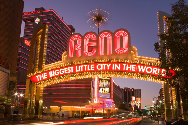 Reno features Vegas-like attractions, but on a smaller scale. © Richard Cummins/Corbis