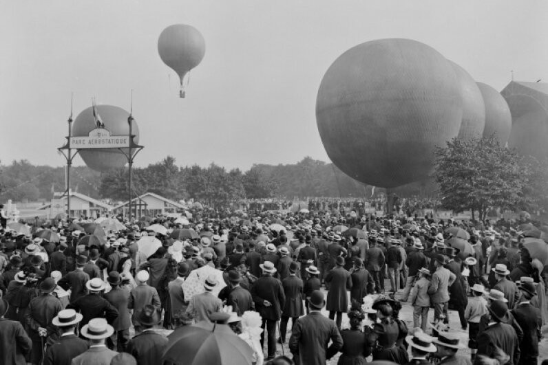 In the 19th century, hot air balloon ascents were exciting feats of flight. ND/Roger Viollet/Getty Images