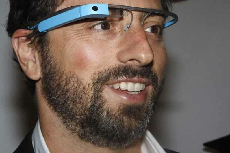 Google founder Sergey Brin poses for a portrait wearing Google Glasses. The virtual keyboard would solved the problem of sending a message without having a hand-held device handy. © CARLO ALLEGRI/Reuters/Corbis
