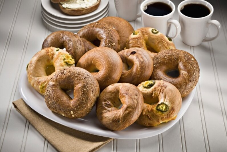 No longer just for morning meetings, bagels get a seat at the turkey table. © Rick Gayle Studio/Corbis
