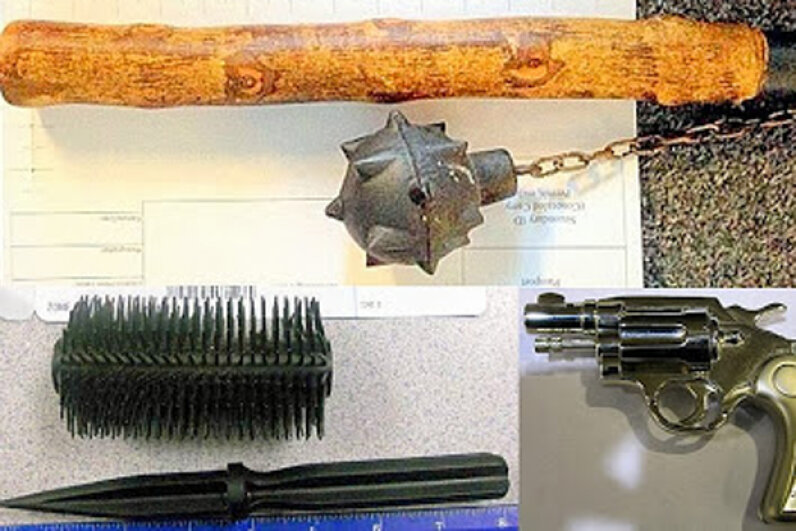 Some of the very unusual items the TSA has found include (from top, going clockwise): a medieval-style mace, a Peplica clock revolver, and a dagger hidden inside a hairbrush. Transportation Security Agency