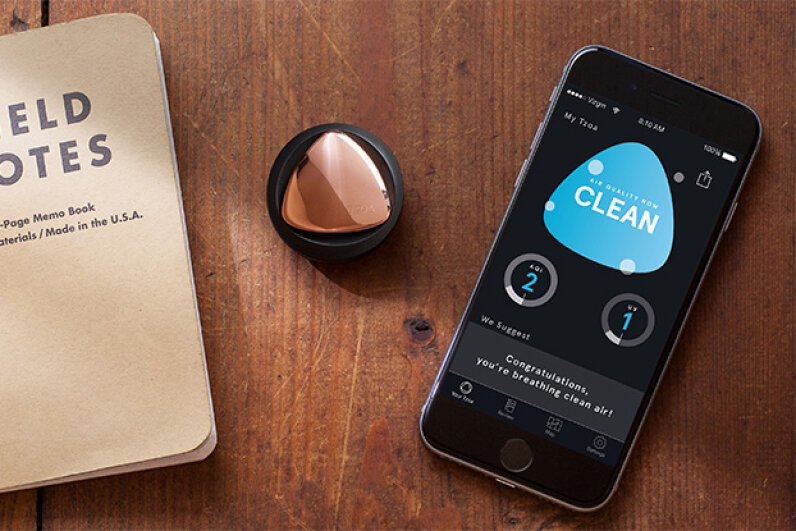 The TZOA is a button-sized sensor that attaches to clothes or a purse, continually monitoring your air quality and streaming that info to an app. TZOA