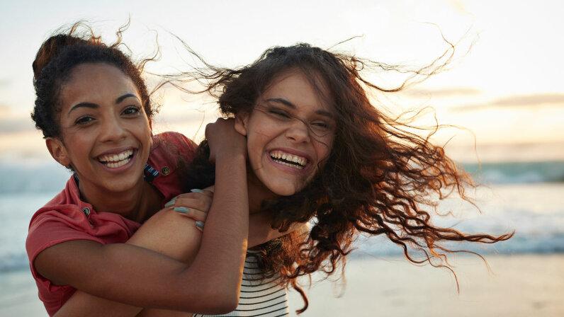 girlfriends on beach