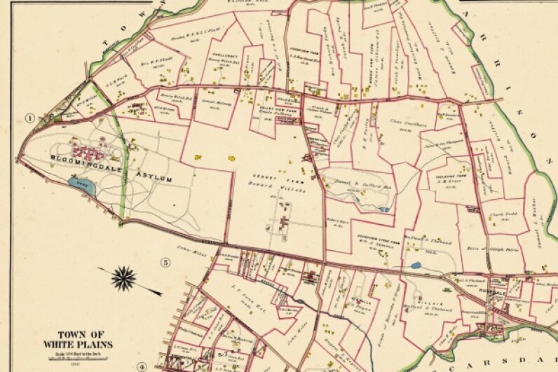 This map of White Plains, New York from 1910 shows the Bloomingdale Asylum property -- a large tract of land -- on the left. © Historic Map Works LLC