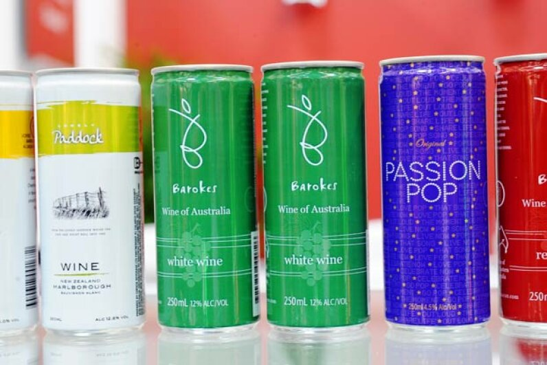 Australian winemaker Barokes Wines developed and sold the first wine in a can in 2003.  Pictured are some of its varieties. JEAN-PIERRE MULLER/AFP/Getty Images