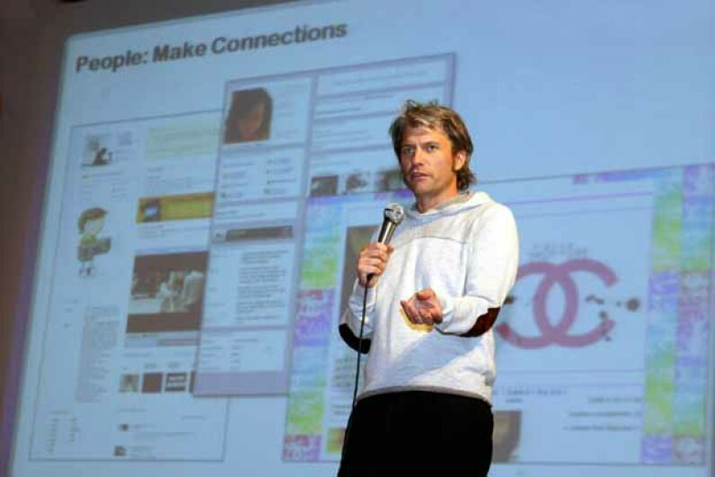 Chris DeWolfe, then-head of MySpace, gives a lecture at Yonsei University in Seoul in 2008. At the time, MySpace was trying to launch in South Korea. KIM JAE-HWAN/AFP/Getty Images