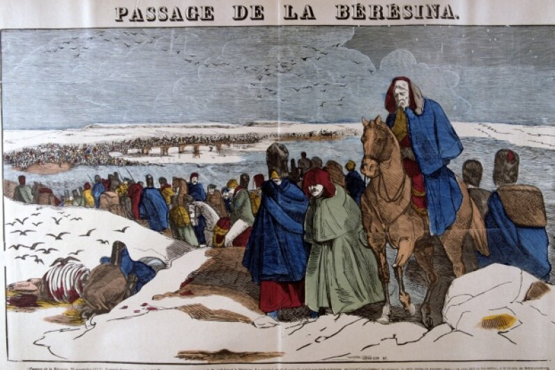 This 19th century French woodcut depicts Napoleon's retreat from Moscow. ©Universal History Archive/Getty Images