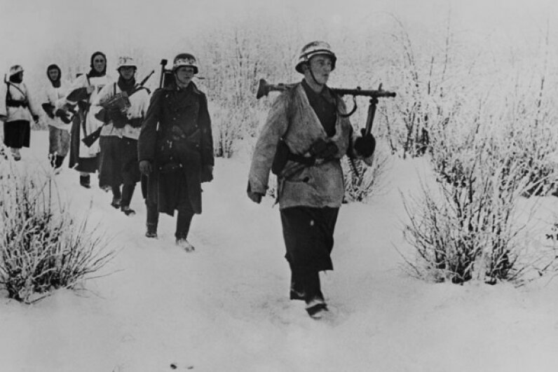 German soldiers walking through snow in the Soviet Union on Dec. 23, 1941. ©Keystone-France/Gamma-Keystone via Getty Images