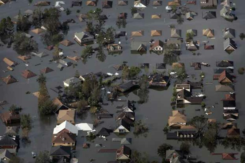 hurricane katrina, submerged houses