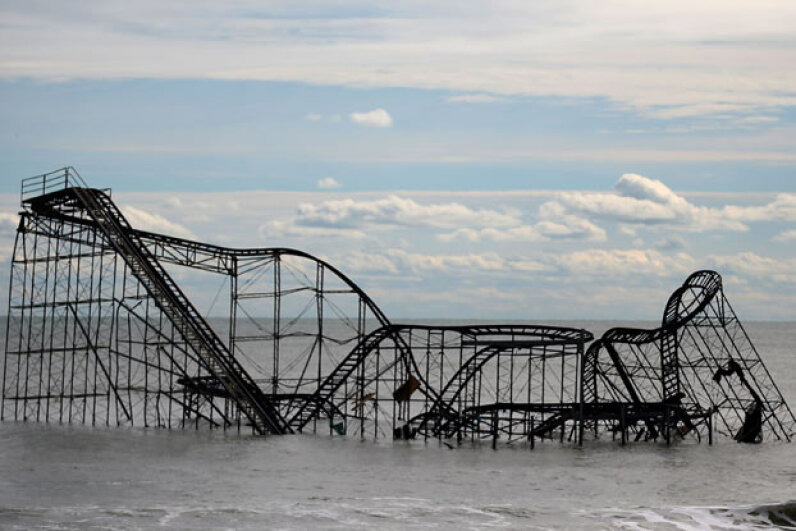 A roller coaster sits in the Atlantic Ocean after the Fun Town (New Jersey) pier it was built on on was destroyed by Superstorm Sandy. Mark Wilson/Getty Images