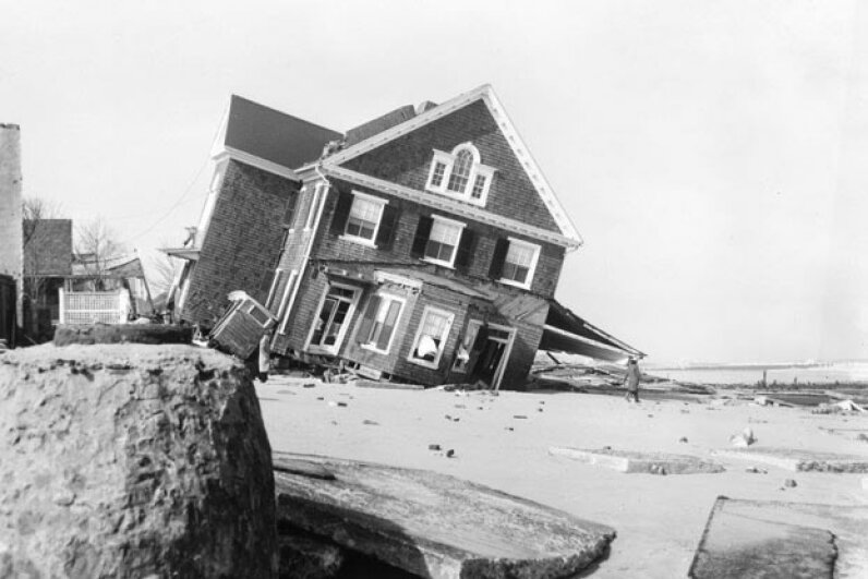 The Ash Wednesday storm caused a lot of damages to homes, like this one on Rehoboth Beach, Delaware. Delaware Public Archives