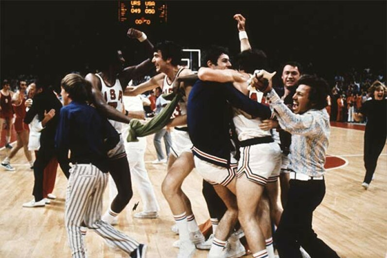 The U.S. team celebrates, mistakingly thinking they've won over the Soviet Union in the Olympic basketball final of 1972. After the game clock was reset, the Soviets won. The U.S. refused the silver which still sits in a vault in Switzerland. AFP/AFP/Getty Images