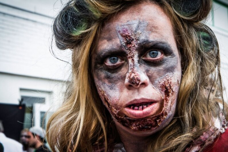 Unfortunately, those lesions only get worse. No zombie skin regimen will ever heal them.  © Erin Cadigan/iStockphoto
