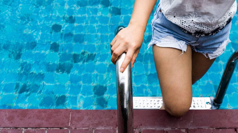 Pool in denim shorts