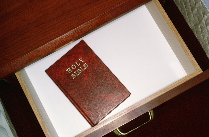 Many of the hipper hotel chains don't carry the Gideon Bible anymore. William Whitehurst/Getty Images