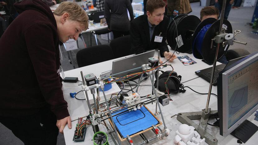 homemade 3-D printer, CeBit fair, Germany