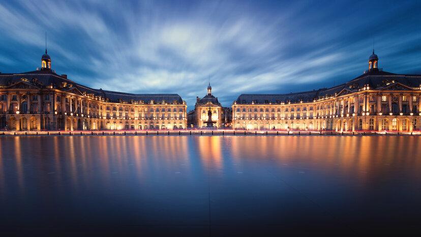 Sunset over the Miroir d'Eau