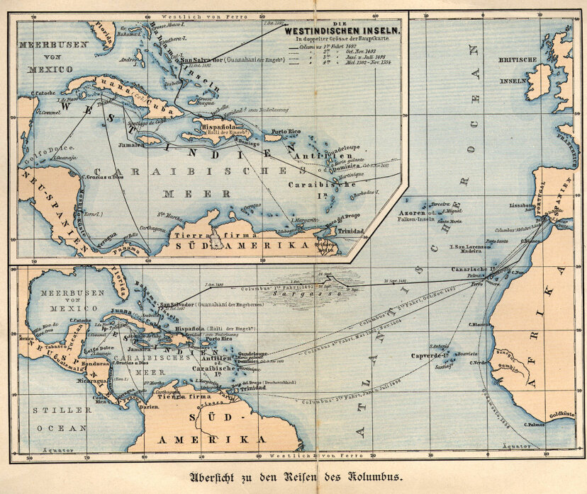map of Columbus' voyages